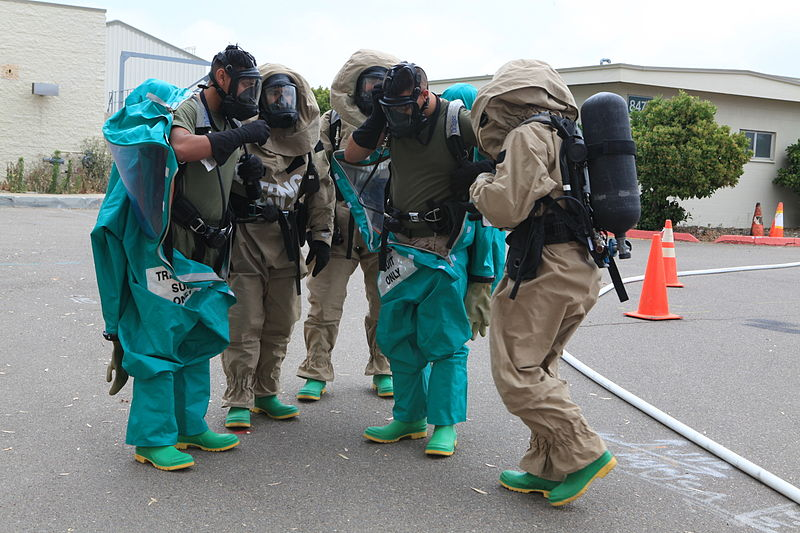 A Chemical, Biological, Radiological, and Nuclear (CBRN) Defense Specialist at work