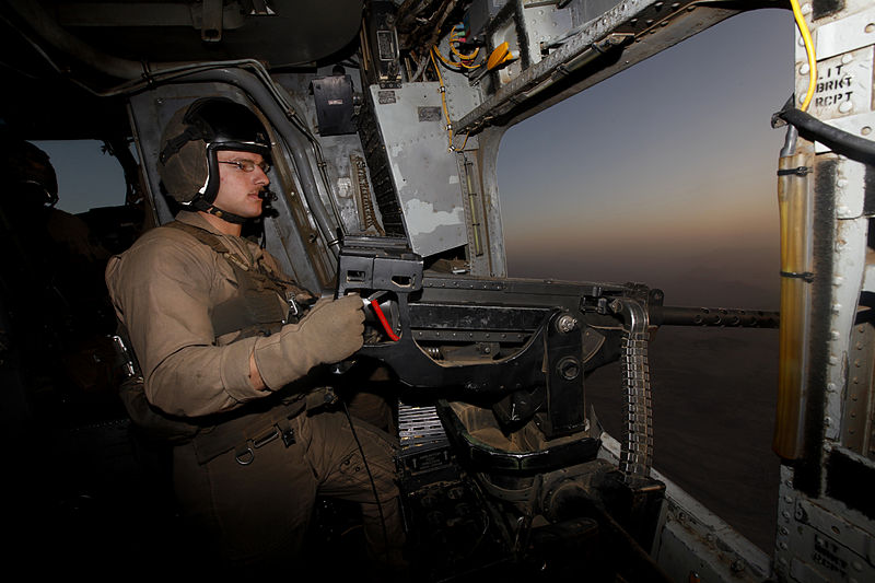 A Helicopter Crew Chief at work