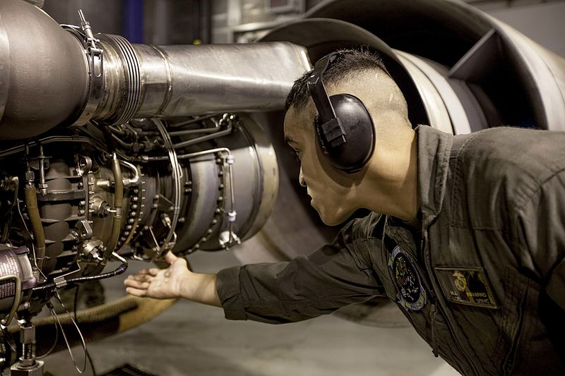 A Helicopter Power Plants Mechanic at work