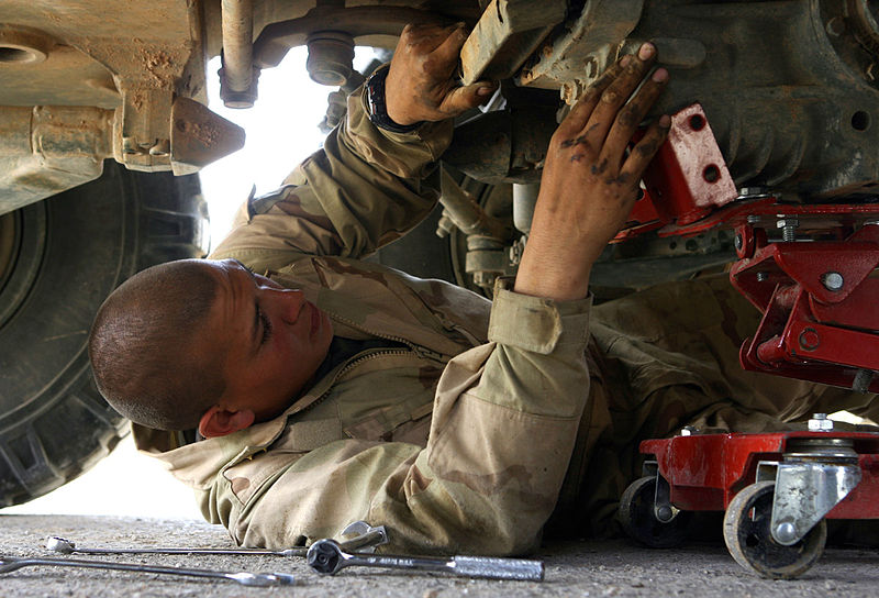 A Light Armored Vehicle Repairer/Technician at work