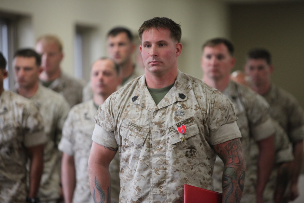 A Marine Counterintelligence Specialist at work